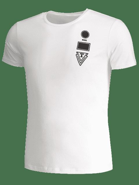 T-shirt à manches courtes à manches courtes pour hommes - Blanc 2XL Mobile