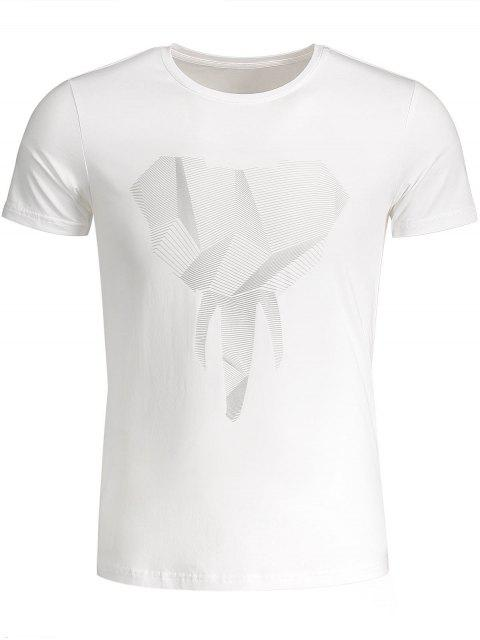 T-shirt Jersey Graphique Col Rond - Blanc 3XL Mobile
