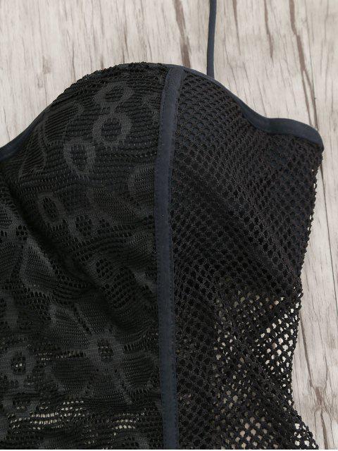 sale High Cut Fishnet Moulded Underwire Swimwear - BLACK S Mobile