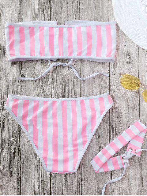 fancy Lace Up Striped Strapless Bikini with Choker - STRIPE S Mobile