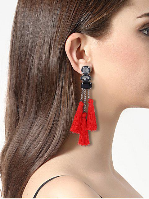 Boucles d'oreille strass strass - Rouge  Mobile