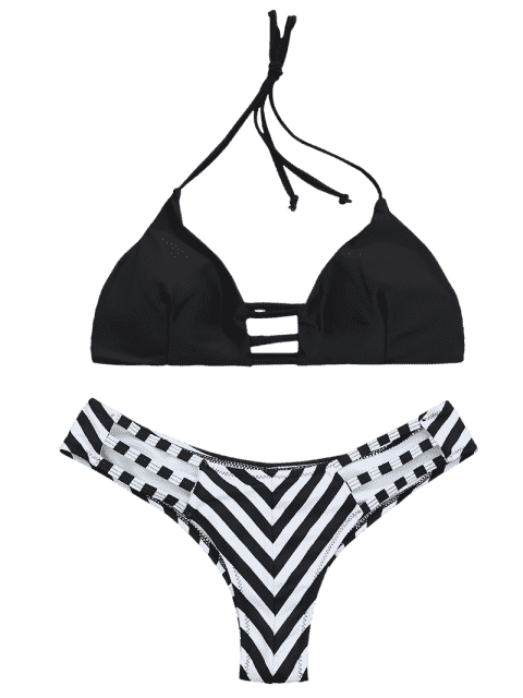 ladies High Cut Ladder Cut Striped Bikini - BLACK M Mobile