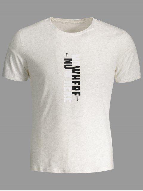 T-shirt graphique slogan pour hommes Crewneck - Gris Clair 3XL Mobile