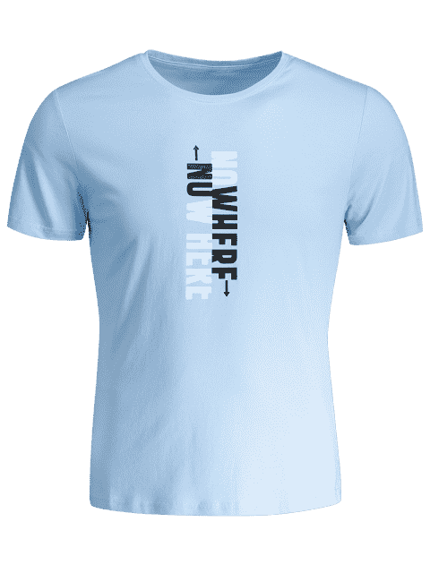 T-shirt graphique slogan pour hommes Crewneck - Bleu clair XL Mobile