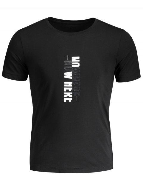 T-shirt graphique slogan pour hommes Crewneck - Noir 2XL Mobile