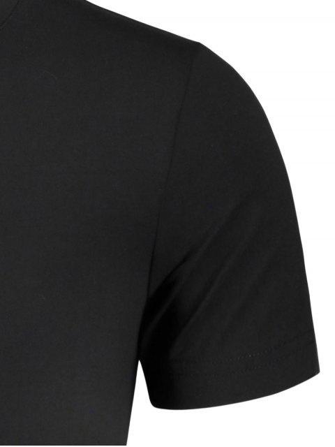 T-shirt graphique slogan pour hommes Crewneck - Noir XL Mobile