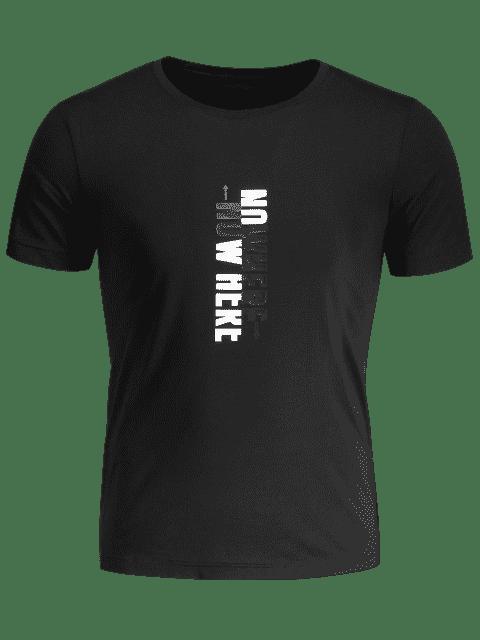 ladies Mens Crewneck Slogan Graphic Tee - BLACK XL Mobile