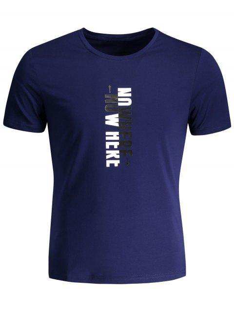 T-shirt Graphique Slogan Col Rond - Bleu Foncé XL Mobile