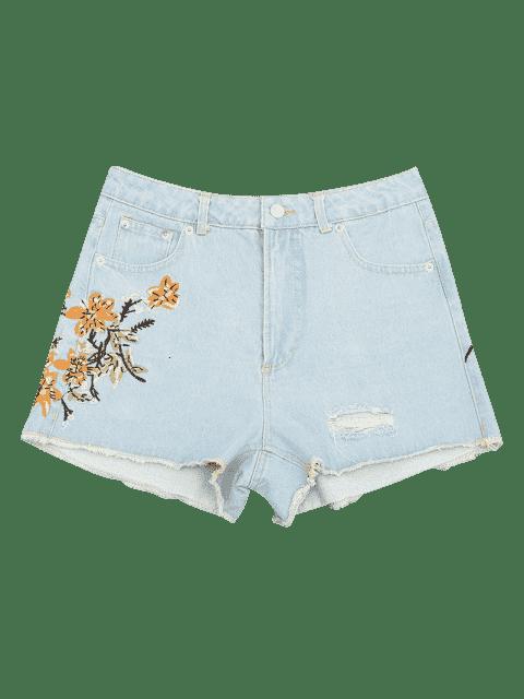 Shorts denim brodés à boutons coupés détruits - Denim Bleu M Mobile
