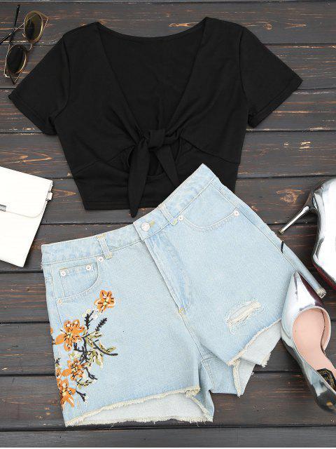 Pantalones cortos bordados florales del dril de algodón de los cutoffs destruidos - Azul Denim L Mobile