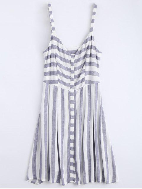 hot Button Up Stripes Casual Dress - STRIPE L Mobile