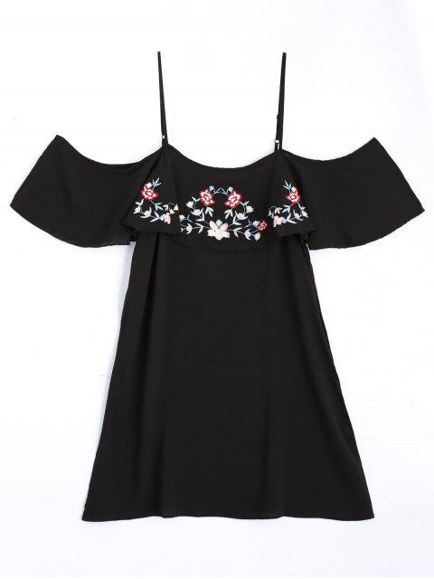 shop Embroidered Ruffles Cold Shoulder Mini Dress - BLACK L Mobile