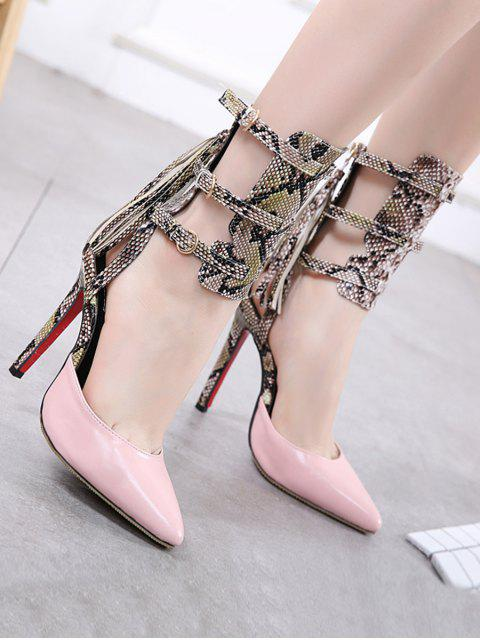 womens Buckle Straps Tassels Snake Print Pumps - PINK 41 Mobile