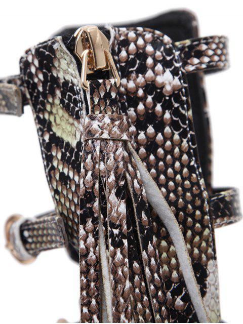women's Buckle Straps Tassels Snake Print Pumps - PINK 39 Mobile