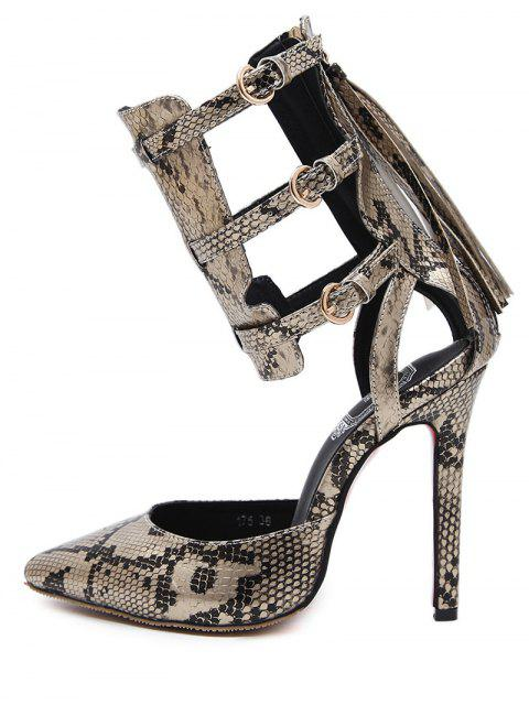 shop Buckle Straps Tassels Snake Print Pumps - GOLDEN 41 Mobile