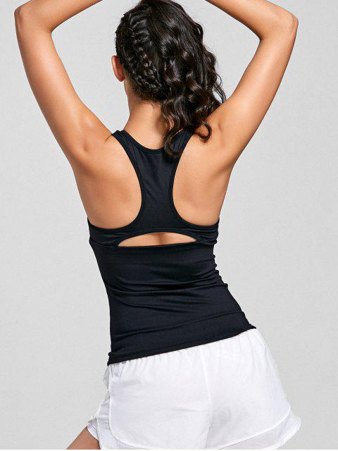 Cutting Racerback Mesh Insert Sporty Top - Noir S Mobile