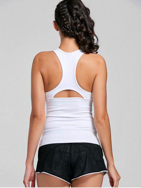 women Mesh Insert Cutout Racerback Sporty Top - WHITE M Mobile