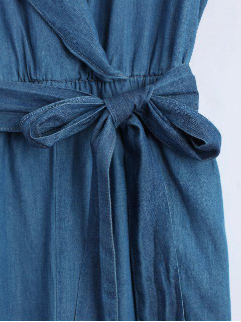 ladies Belted Straight Denim Jumpsuit - DENIM BLUE S Mobile
