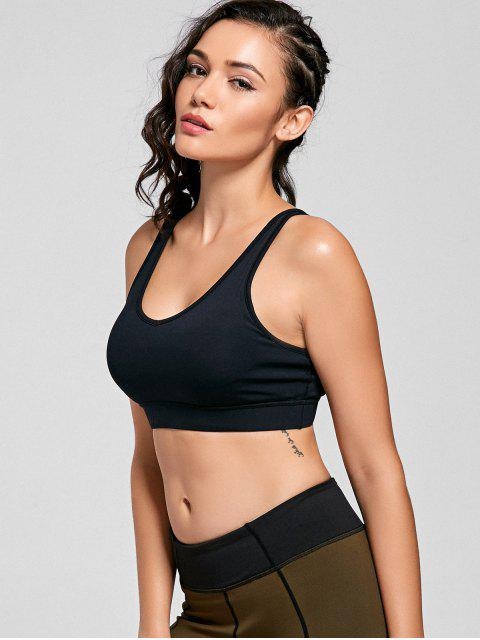 outfits Padded Scoop Strappy Sporty Bra - BLACK L Mobile