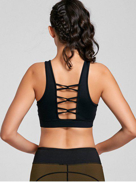 shop Padded Scoop Strappy Sporty Bra - BLACK M Mobile