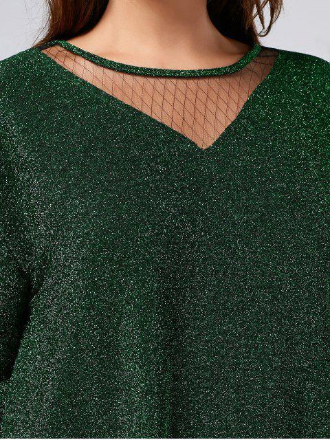 fashion Plus Size Sparkly Glitter Mesh Top - GREEN XL Mobile