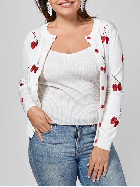women Cherry Embroidered Plus Size Cardigan - WHITE 3XL Mobile