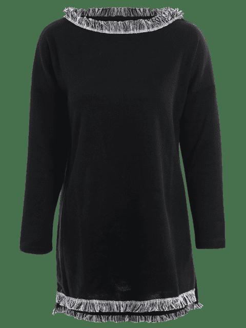 fashion Plus Size Fringed Sweater Dress - BLACK 4XL Mobile
