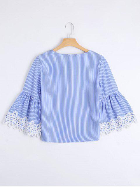 buy Stripes Lace Trim Lace Up Blouse - STRIPE L Mobile