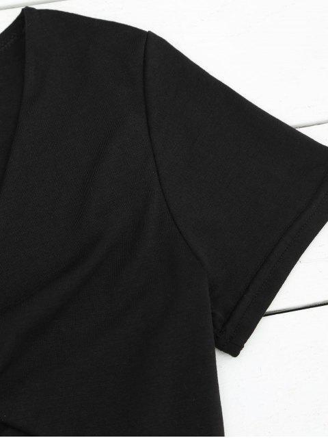 shop Plunging Neck Cut Out Crop Tee - BLACK L Mobile