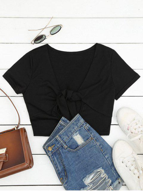 shop Plunging Neck Cut Out Crop Tee - BLACK L Mobile