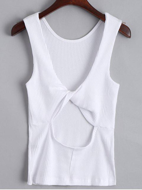Twist Ribbed Cut Out Tank Top - Blanc M Mobile