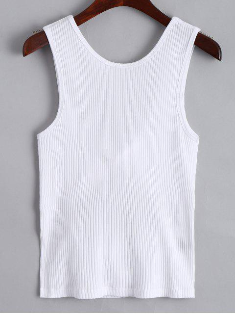 trendy Twist Ribbed Cut Out Tank Top - WHITE M Mobile