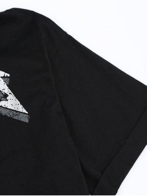 T-shirt imprimé à motifs floraux - Noir L Mobile