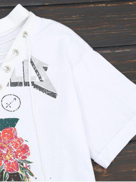online Floral Print Lace Up Tee - WHITE S Mobile
