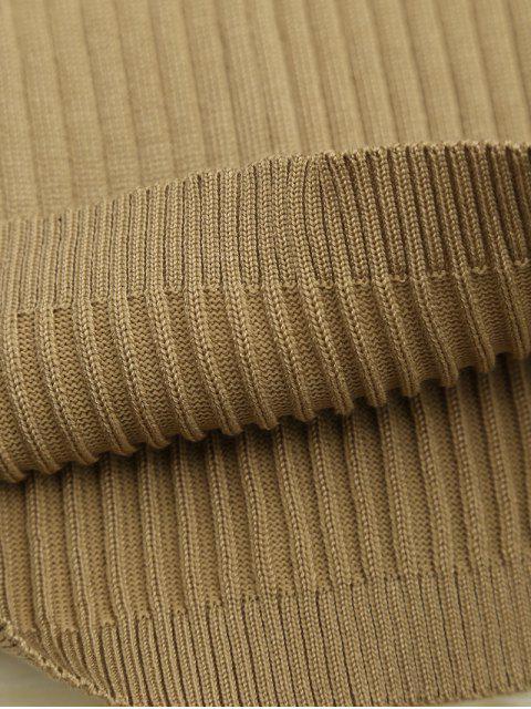 Jupe tricotée haute taille à lacets - Kaki TAILLE MOYENNE Mobile