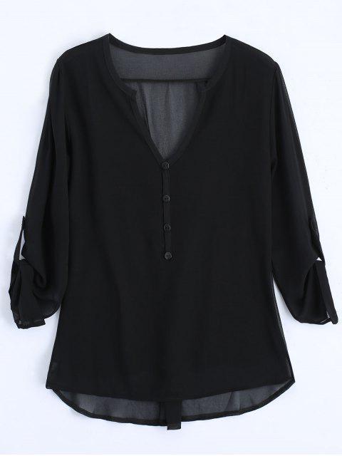 V-Ausschnitt Knopf Verschönerte Bluse - Schwarz 2XL Mobile