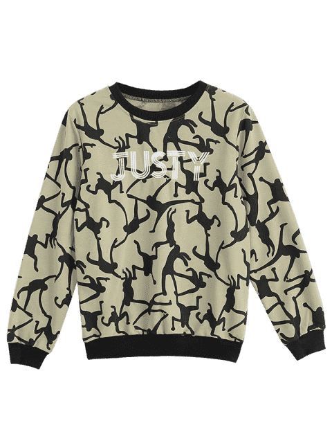 lady Letter Embroidered Graphic Sweatshirt - ALMOND 2XL Mobile