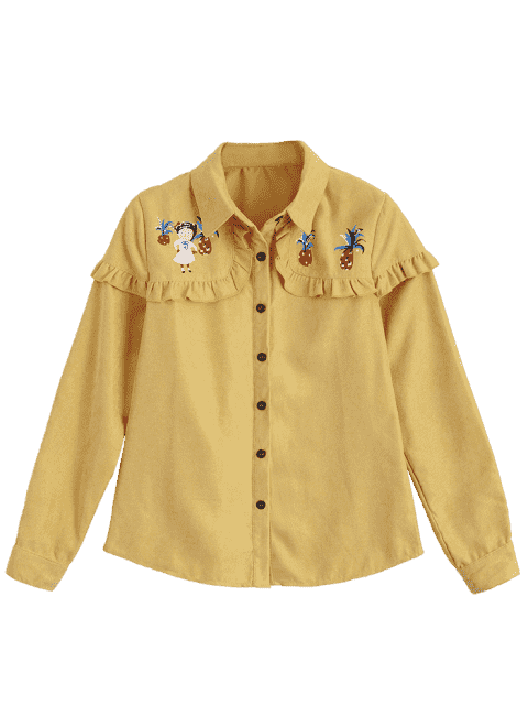 trendy Button Up Printed Ruffle Hem Shirt - YELLOW L Mobile