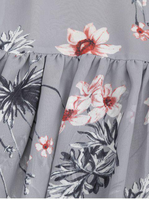 Robe à encolure en mousseline de soie florale - Gris L Mobile