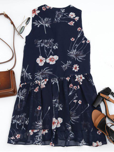 outfits Floral Layered Lace Up Mini Dress - PURPLISH BLUE M Mobile