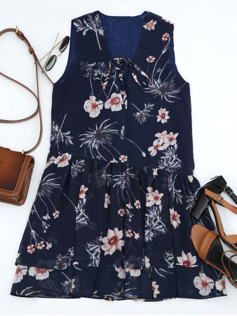 outfits Floral Layered Lace Up Mini Dress - PURPLISH BLUE M Mobile