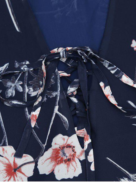 Robe à encolure en mousseline de soie florale - Bleu Violet S Mobile
