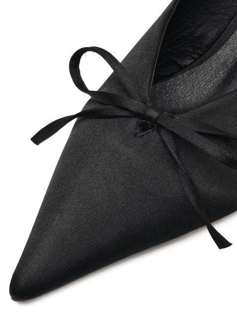 latest Pointed Toe Bow Satin Slippers - BLACK 37 Mobile