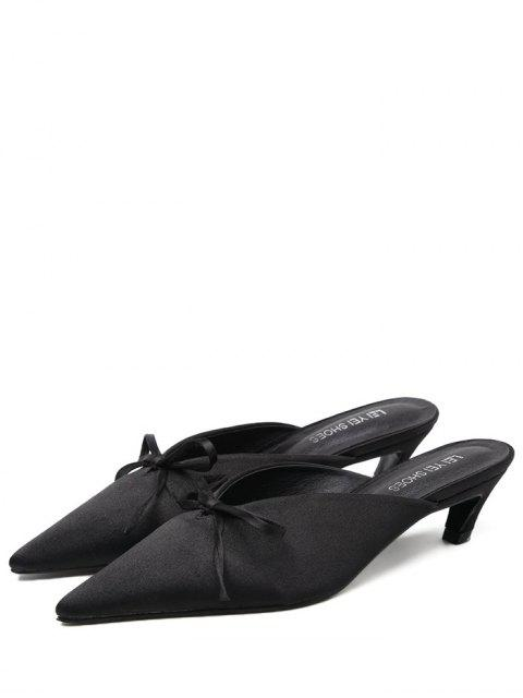 trendy Pointed Toe Bow Satin Slippers - BLACK 38 Mobile