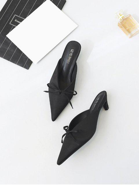 fashion Pointed Toe Bow Satin Slippers - BLACK 39 Mobile