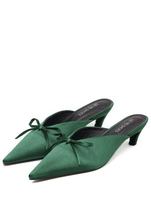 fancy Pointed Toe Bow Satin Slippers - GREEN 37 Mobile