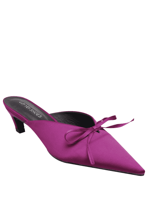 sale Pointed Toe Bow Satin Slippers - ROSE RED 39 Mobile