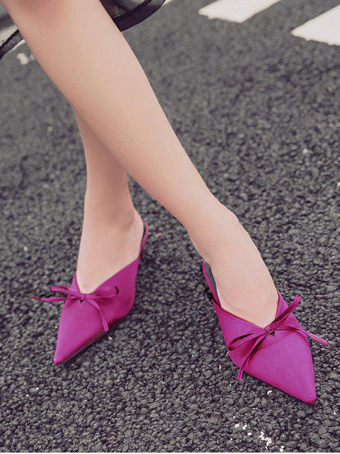 affordable Pointed Toe Bow Satin Slippers - ROSE RED 37 Mobile