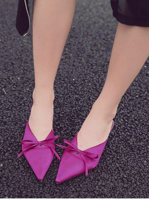 buy Pointed Toe Bow Satin Slippers - ROSE RED 38 Mobile