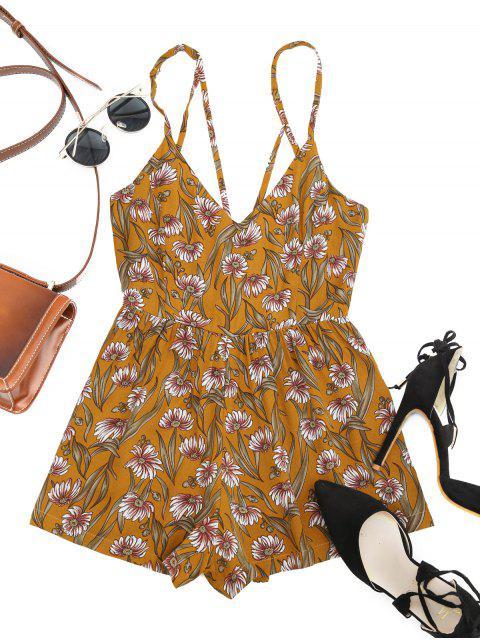 womens Sunflower Criss Cross Romper - YELLOW XL Mobile